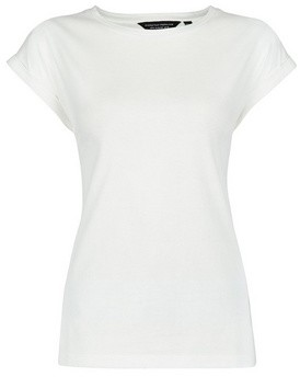 Dorothy Perkins Womens Organic Cotton White Roll Sleeve T
