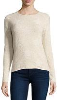 Neiman Marcus Cashmere Star-Print Pullover Sweater, Tan