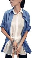 uxcell Ladies Point Collar Short Sleeve Leopard Pattern Denim Shirt XS