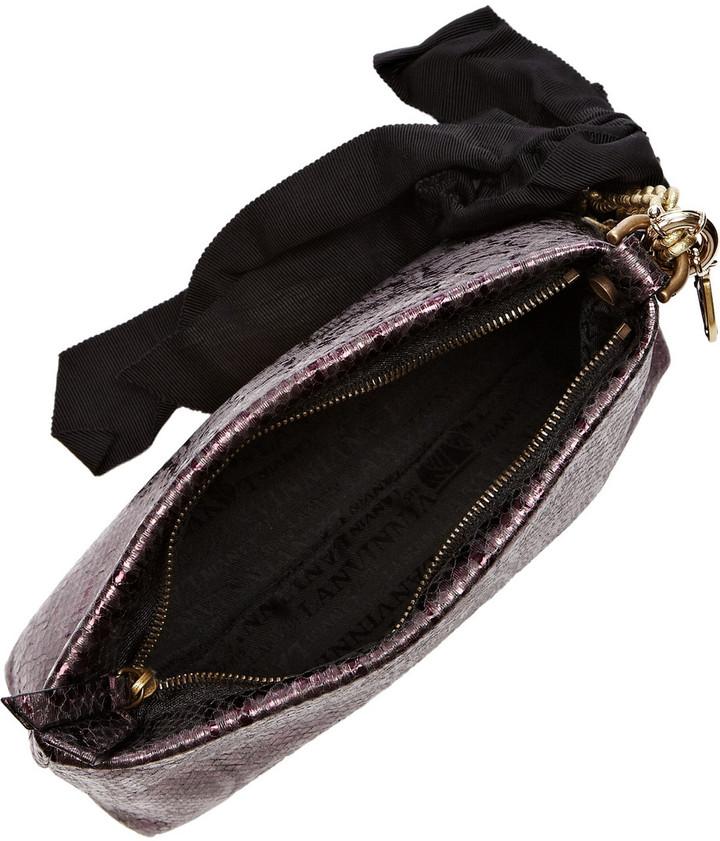 Lanvin Metallic snake-effect leather cosmetics case