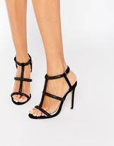 Faith Laroux Black Embellished Strappy Heeled Sandals