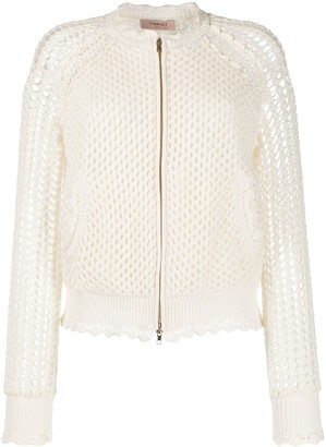 Twin-Set Crochet Mesh Knit Bomber Jacket