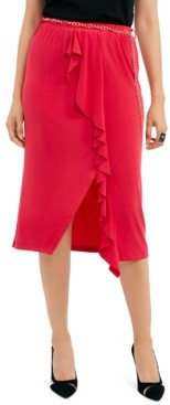 Thalia Sodi Solid Ruffle-Trim Skirt, Created for Macy's