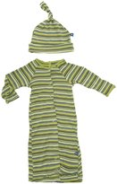Kickee Pants Print Layette Gown & Knot Hat (Baby)-Island Stripe-6-12 Months