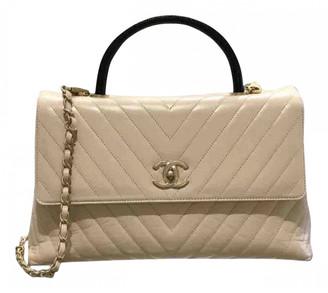 Chanel Coco Handle Ecru Leather Handbags