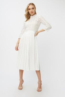Little Mistress Alice White Crochet Top Mini Petite Dress With Pleated Skirt