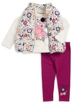 Flapdoodles Little Girl's Three-Piece Floral Vest, Fox Tee and Leggings Set