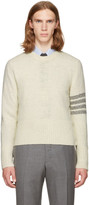 Thom Browne White Classic Mohair Crewneck Pullover