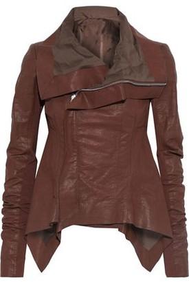 Rick Owens Naska Knit-paneled Coated Linen-blend Twill Biker Jacket