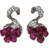 Arunashi Ruby Swan Earrings