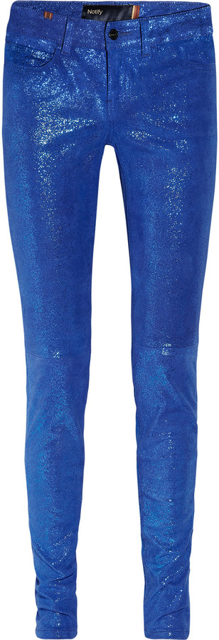 Notify Jeans Bamboo glitter-finished stretch-leather skinny pants