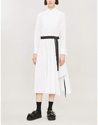 Sacai Long-Sleeved Crepe-Twill Midi Dress