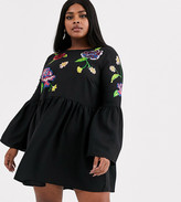 Asos DESIGN Curve fluted sleeve embroidered smock mini dress