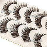 Black False Eyelash Makeup Brown Extension Soft Cross Handmade 5 Pairs Eyelashes