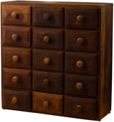Rejuvenation Rustic 15-Drawer Oak Cabinet c1915