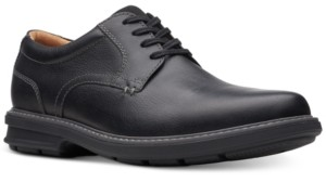 Clarks Men's Rendell Plain Black Leather Casual Oxfords Men's Shoes
