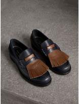 Burberry Contrast Kiltie Fringe Leather Loafers , Size: 43.5, Brown