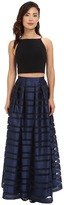 Aidan Mattox Ball Skirt w/ Illusion Panels and Stretch Halter Top