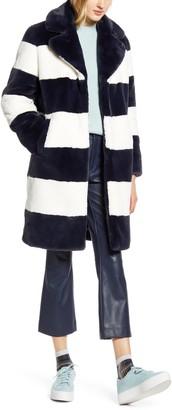 Halogen x Atlantic-Pacific Stripe Faux Fur Coat