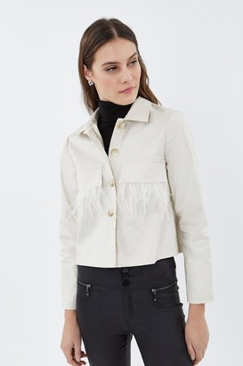Coast Feather Trim Shacket