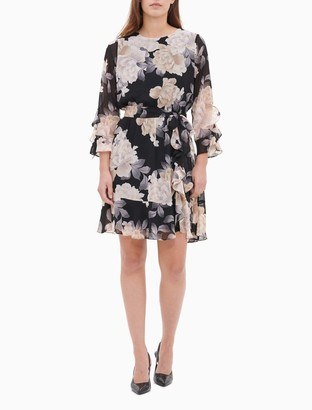 Calvin Klein Printed 3/4 Sleeve Belted Ruffle Dress