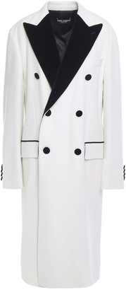 Dolce & Gabbana Double-breasted Velvet-trimmed Cashmere And Cotton-blend Coat