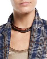 Brunello Cucinelli Leather & Monili Wrap Necklace