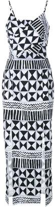 Tata-Naka Tata Naka Rebecca Geometric Print Cut-Out Dress