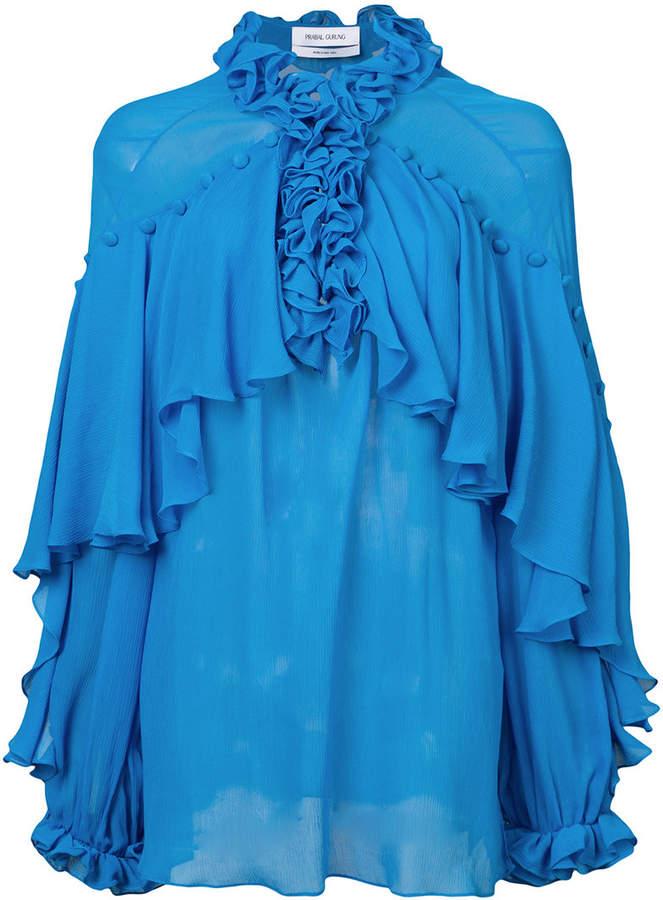Prabal Gurung ruffle sheer blouse