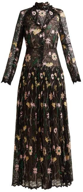Giambattista Valli Floral Embroidered Chantilly Lace Gown - Womens - Black Multi