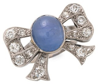 Stephanie Windsor Art Deco Platinum, Cornflower Blue Star Sapphire & Diamond Bow Ring