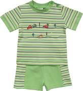 Schnizler Boy's Autos geringelt mit T-Shirt und Shorts Clothing Set - Green -