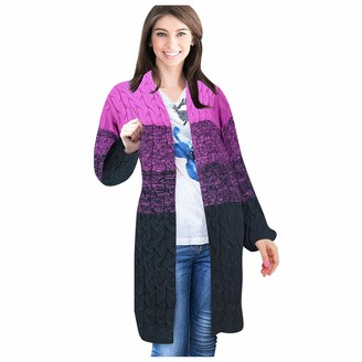 LANJIA Womens Cardigans Open Front Crochet Cable Knit Slouchy Casual Sweaters Fashion Ladies Casual Stripes Patchwork Long Sleeves Sweater Cardigan Blouse Tops Purple