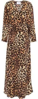 Leone We Are Leopard-print Silk Crepe De Chine Maxi Wrap Dress