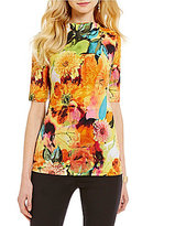 Investments Mini Mock Neck Elbow-Sleeve Floral Printed Top