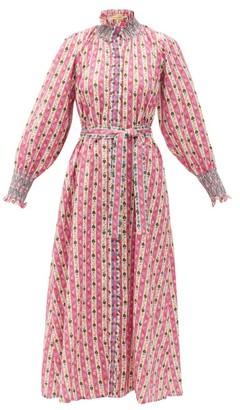 Muzungu Sisters - Alice Botanical-print Linen Midi Dress - Pink Print