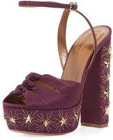 Aquazzura Mira Embellished Twill Platform Sandal, Plum