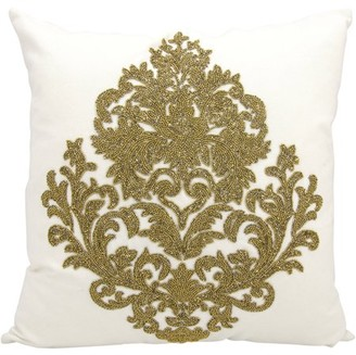 Nourison Luminecence Beaded Damask Decorative Pillow