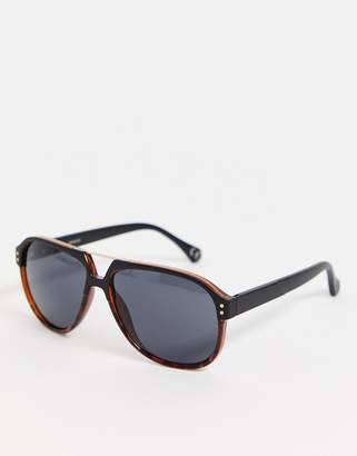 Asos Design DESIGN aviator in plastic tort with matte black arms and smoke lens