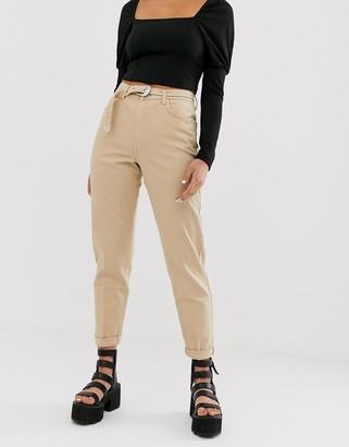 Bershka mom fit trouser with belt in beige