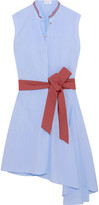 Brunello Cucinelli Asymmetric Belted Cotton-poplin Dress - Blue