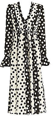 Carolina Herrera Women's Polka Dot V-Neck Tie-Waist Poet-Sleeve Midi Dress