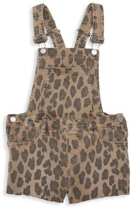 Blank NYC Girl's Leopard-Print Denim Shortall