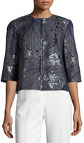 Lafayette 148 New York Athea Butterfly-Print Jacket, Blue