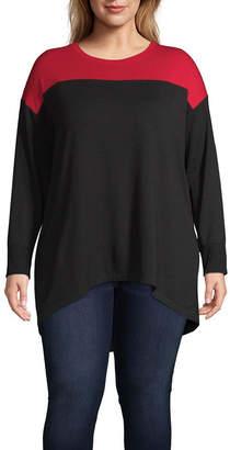 Liz Claiborne Long Sleeve Colorblock Tunic - Plus