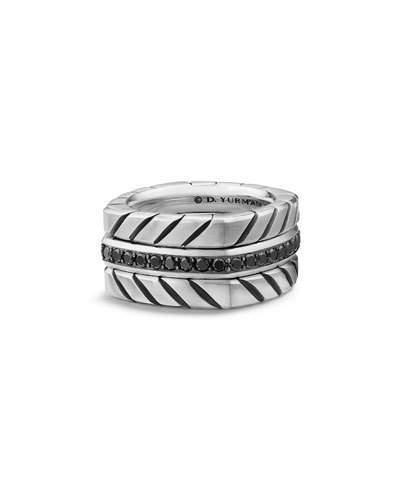 David Yurman Men's 12.8mm Sterling Silver Chevron Stack Ring with Black Diamonds