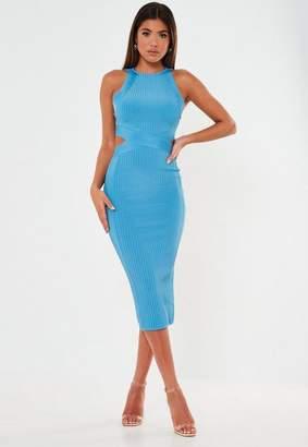 Missguided Premium Blue Bandage High Neck Cut Out Midi Dress