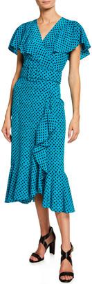 Michael Kors Belted Polka-Dot Ruffled Midi Dress