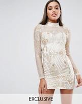 Club L High Neck Embellished Mini Dress