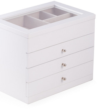 Bey-Berk White Wood Jewelry Case With 3 Drawers